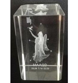 3d Laser Kristal Blok Maagd 5x5x8cm