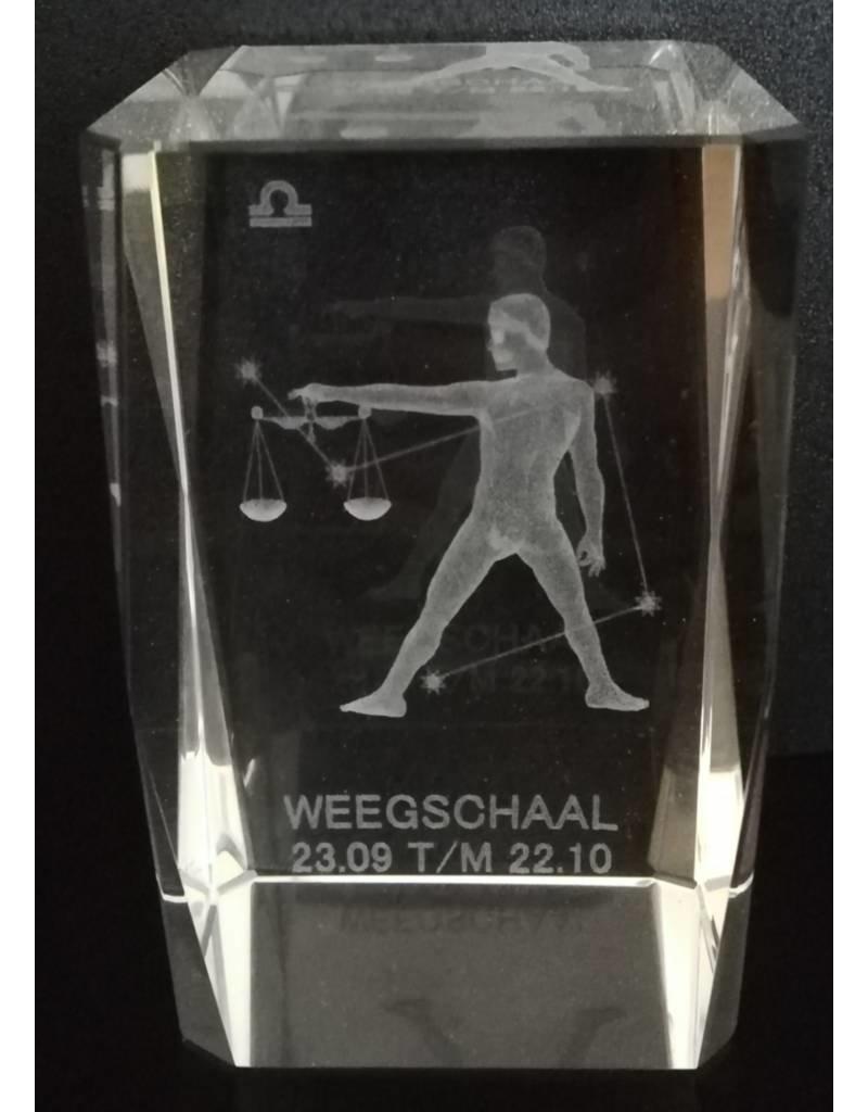 3d Laser Kristal Blok Weegschaal 5x5x8cm