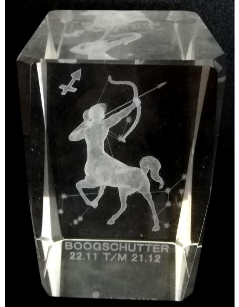 3d Laser Kristal Blok Boogschutter 5x5x8cm