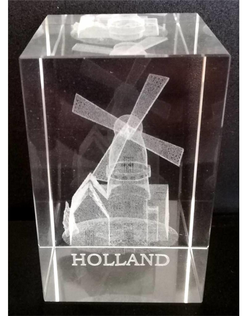 3d Laser Kristal Blok Molen + tekst Holland 5x5x8cm
