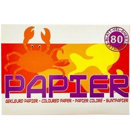 Gekleurd Papier Blok 80 vel 21x29,7cm. 80 gram