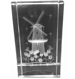 3d Laser Kristal Blok Molen + Tulpen 5x5x8cm.