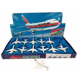 Vliegtuig Metaal 8cm. 4 assorti print