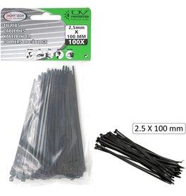 Tie Ribs 2.5x100mm 100 stuks zwart