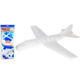 Foam Vliegtuig 43x55cm. wit met stickers