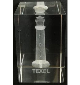 3d Laser Kristal Blok Vuurtoren Texel 5x5x8cm