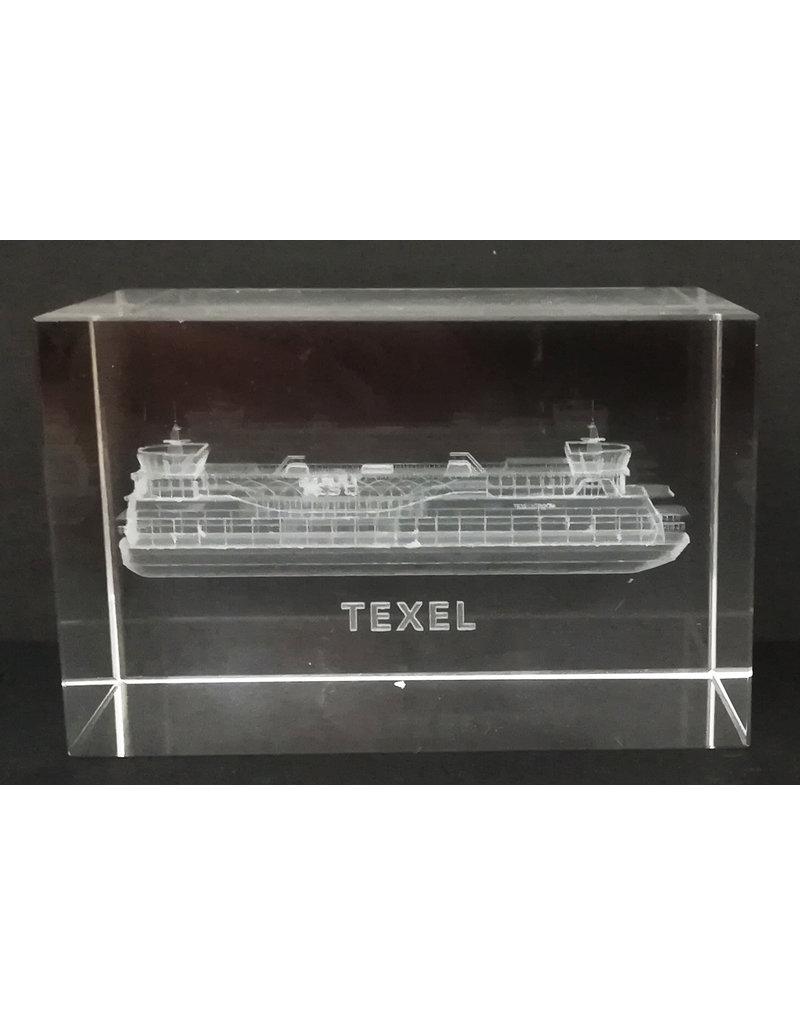 3d Laser Kristal Blok Teso Boot 5x5x8cm