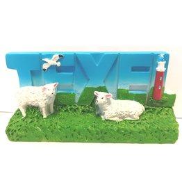 Decoplaat Texel met vuurtoren & schapen 7,5x3,5cm.