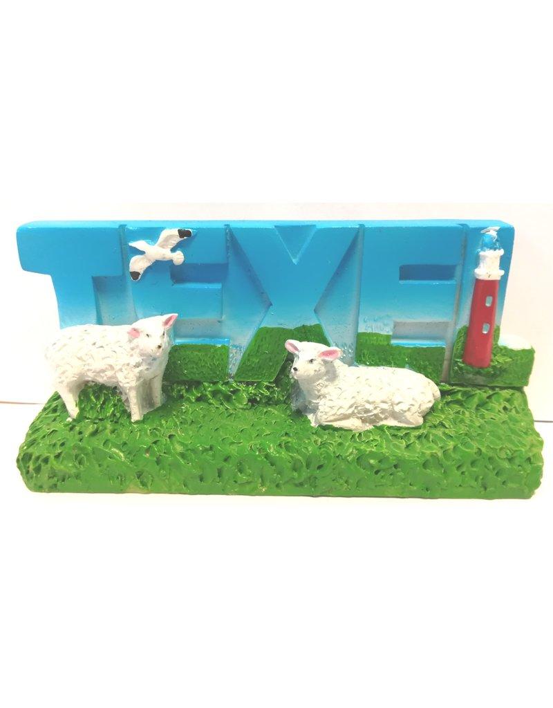 Decoplaat Texel met vuurtoren & schapen 10x8cm.