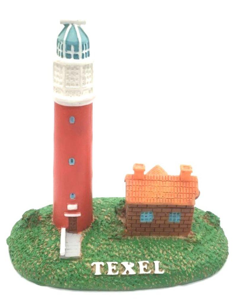 Vuurtoren Texel met huisje 16,5x16,5cm