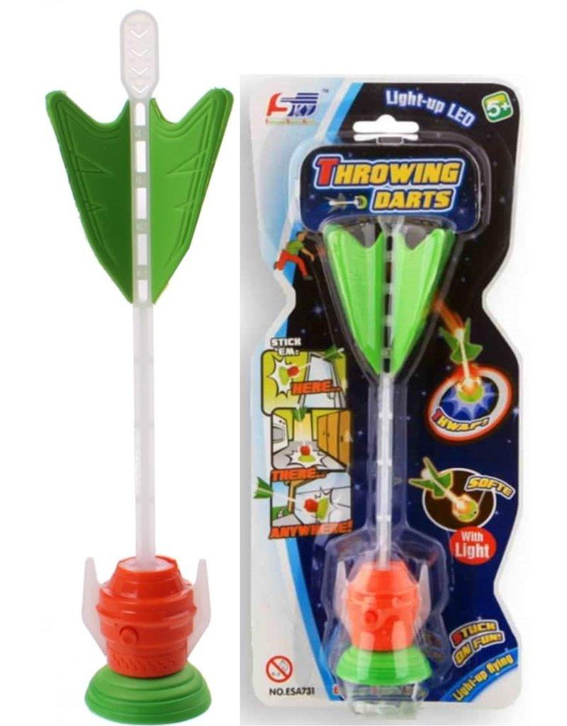 Raket met zuignap en lichteffect 21cm.