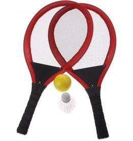 Soft Racketset met bal en pluim 55x27cm. 4 assorti kleur