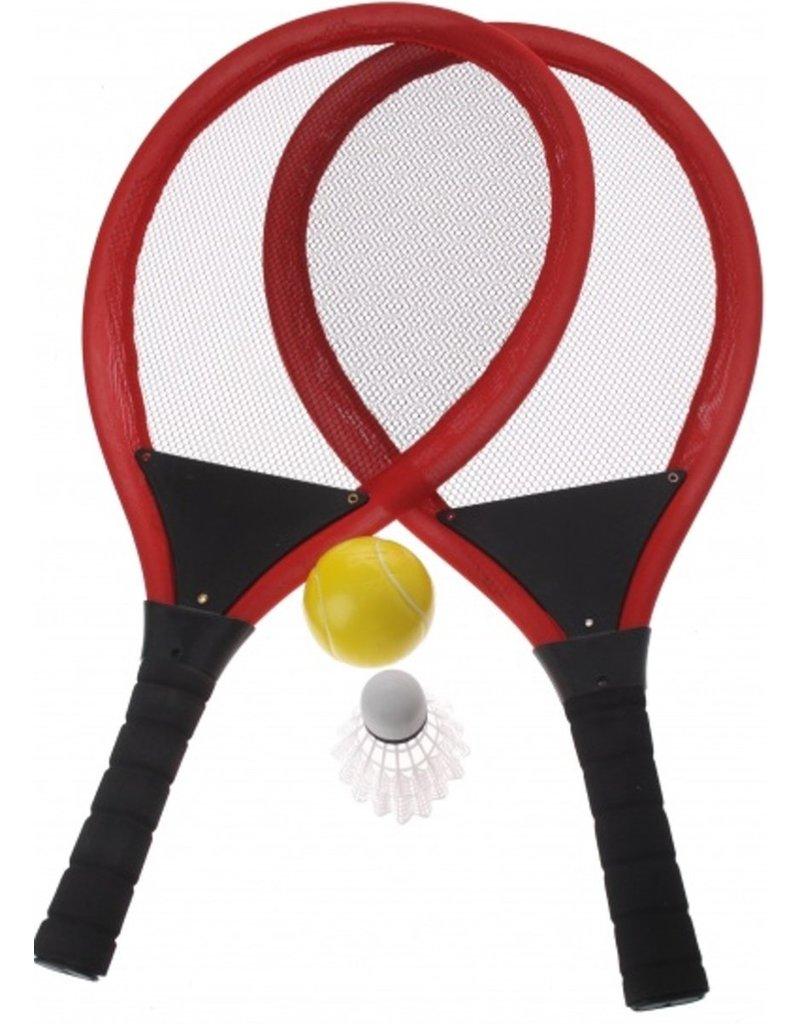 Soft Racketset met bal en pluim 55x27cm. 2 assorti kleur