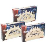 Kersttafereel Hout 23x3,5x9,5cm. met led verlichting 6 ass.