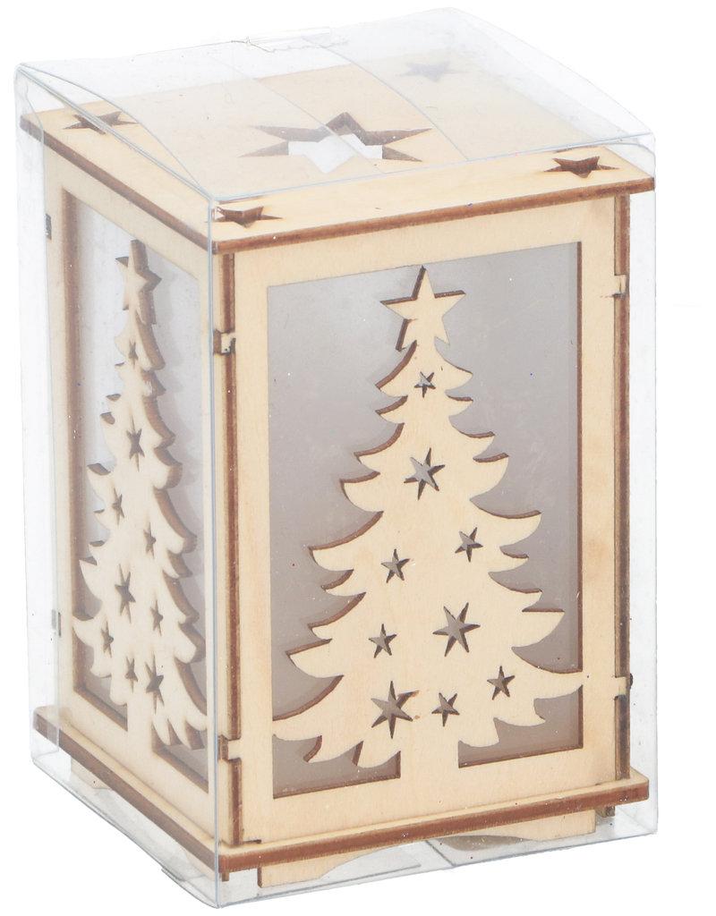 Kersttafereel Hout 7x7x9,5cm. met 1 led verlichting