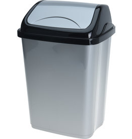 Afvalbak Swing 5 liter 20x15x29cm. zwart/grijs