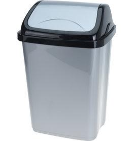 Afvalbak Swing 10 liter 20x25x38cm. zwart/grijs