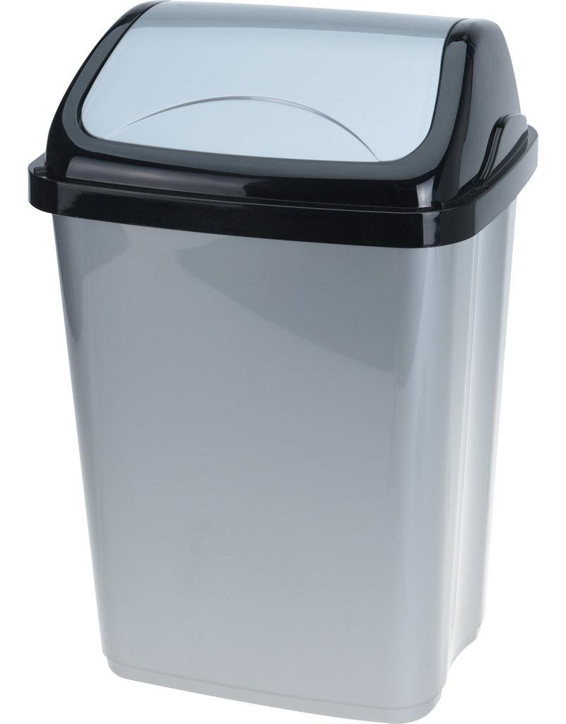 Afvalbak Swing 10 liter zwart/grijs