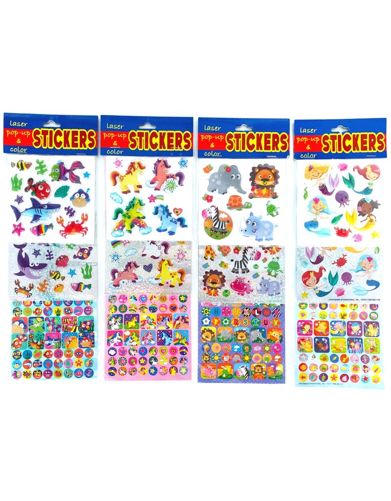 Laser, Pop-Up & Colour Stickers 11,5x33,5cm. 4 assorti