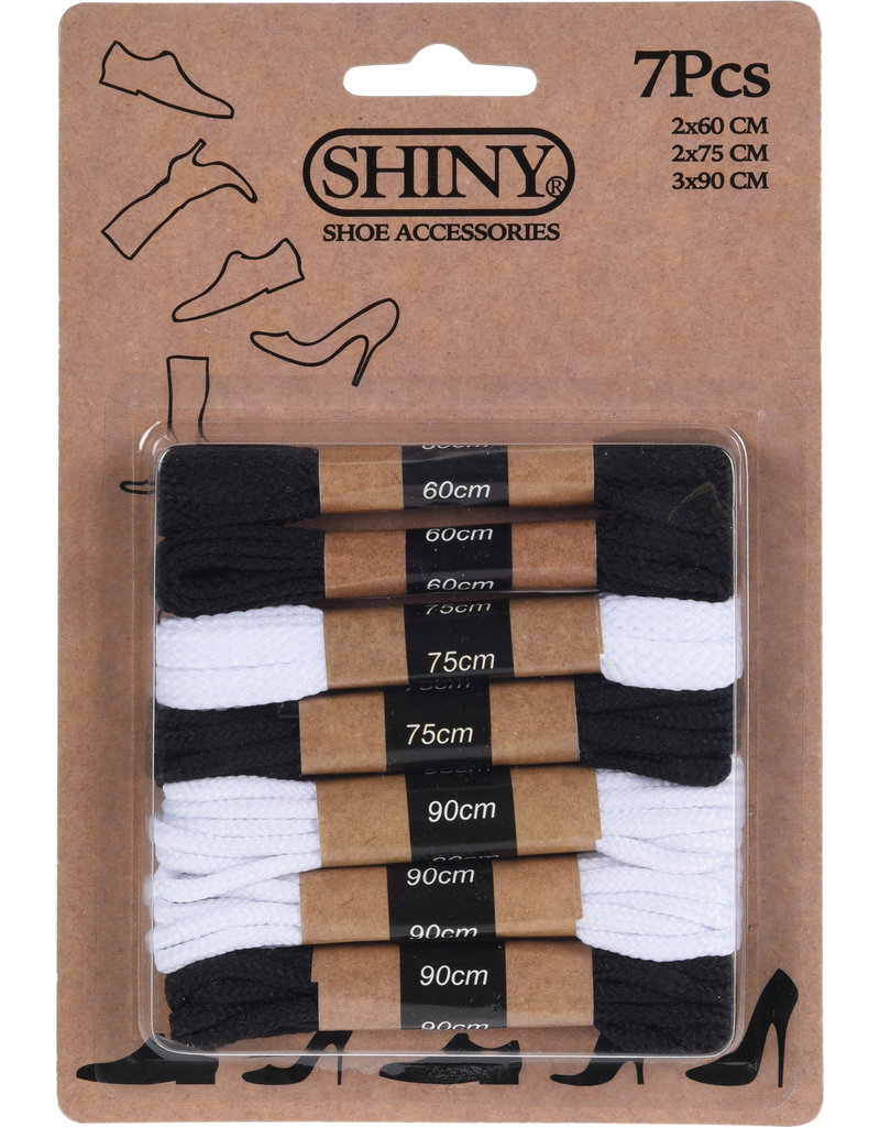 Schoenveters zwart en wit 7 paar (2x60cm-2x75cm-2x90cm)