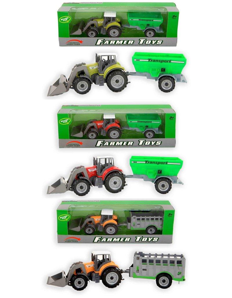 Tractor met aanhanger 27,5x7x5,5 cm. 3 assorti model