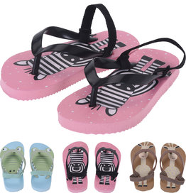 Kinder Teenslipper met enkelband mt 21-27 3 ass. print