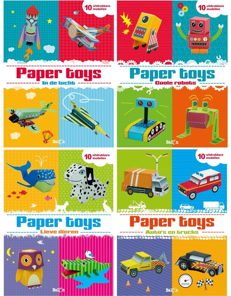 Paper Toys 10 uitrdukbare modellen 24 pag. 28x21cm. 4 ass.