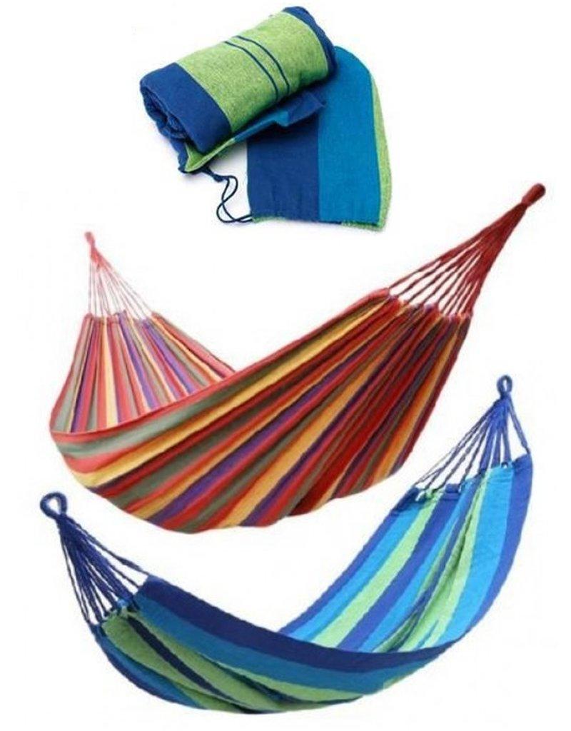 Hangmat 200x100cm. met ophangkoord,karabijnhaken&tas  2 assorti kleur