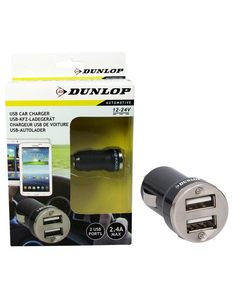 Dunlop Auto Oplader 2 USB poorten 2,4A ABS 12/24V