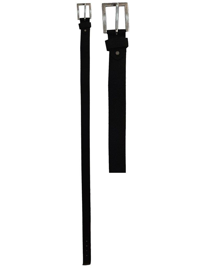 Leren Riem 95-100-105-110-115cm. zwart br. 4cm.