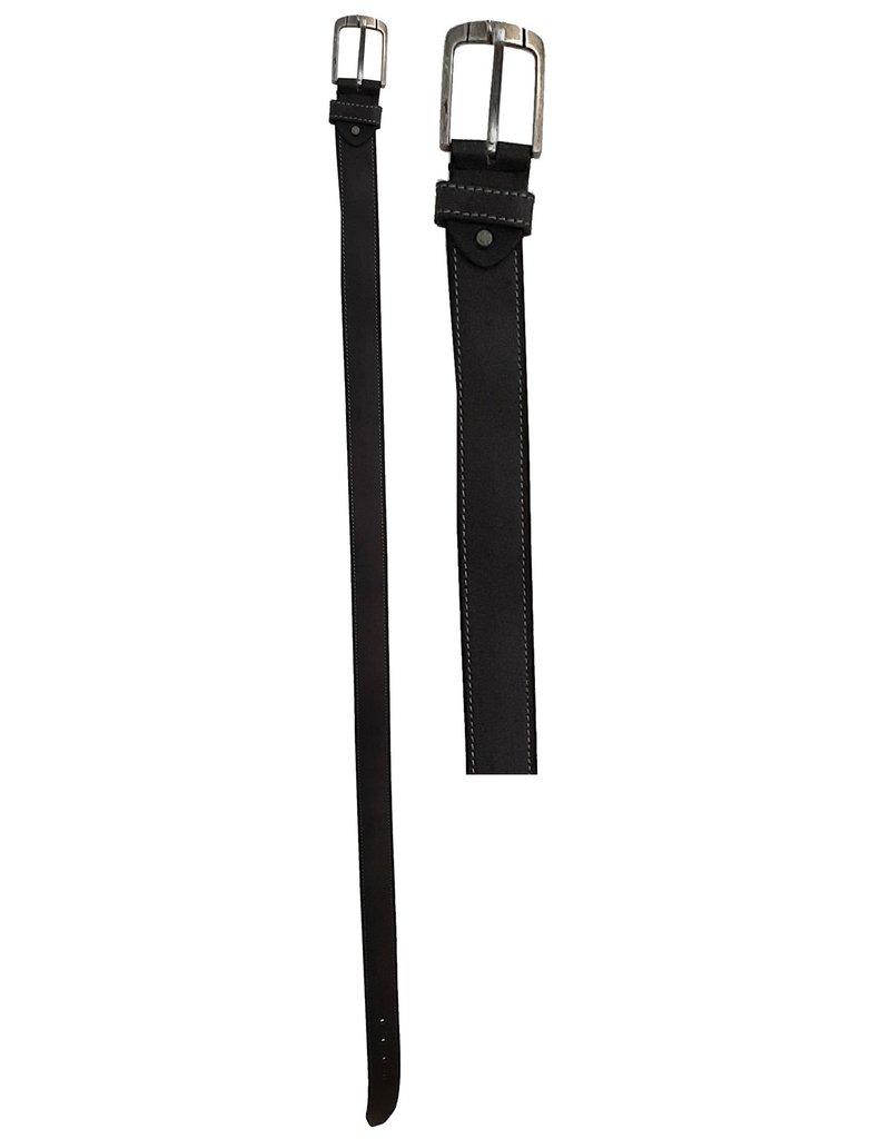 Leren Riem 95-100-105-110-115cm. antraciet br. 4cm.
