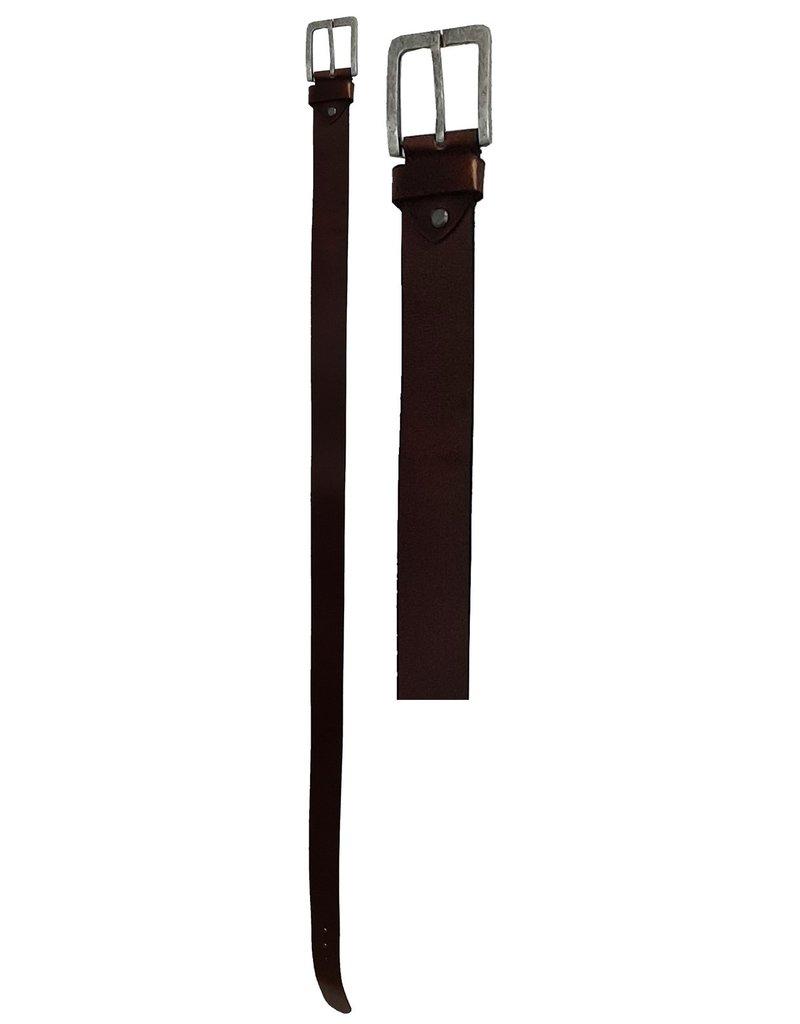 Leren Riem 100-105-110-115cm. bruin br. 4,5cm.