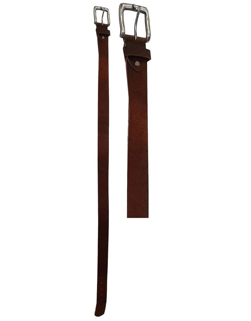 Leren Riem 90-95-100-105-110-115cm. Bruin br. 4cm.