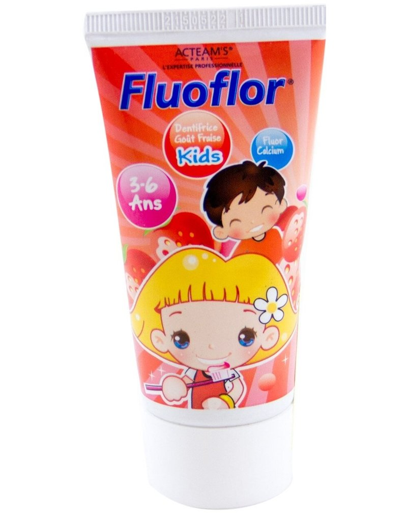 Fluoflor Tandpasta Kids 3-6 jaar 50ml. met aardbeiensmaak