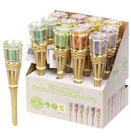 Kaars Citronella Bamboe Frame 30.5x6,5cm 6 assorti kleur