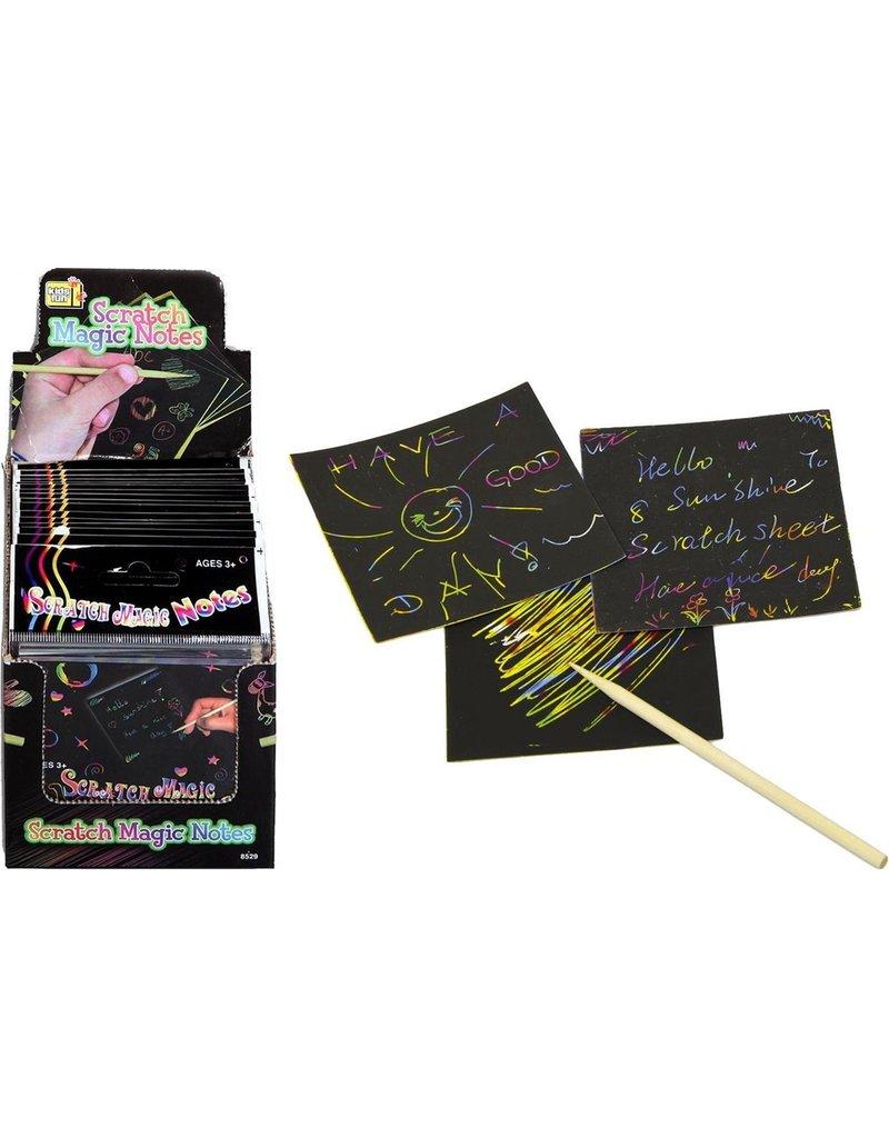 Scratch Sheets 24 vel 8,5x8,5cm. + houten scratch pen