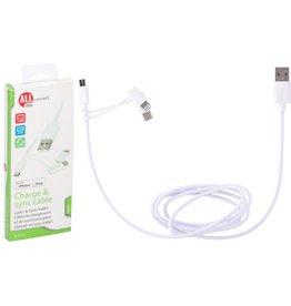 Oplaad-en Sync kabel 3in1 USB2.0/Micro-USB/USB-C/iPhone