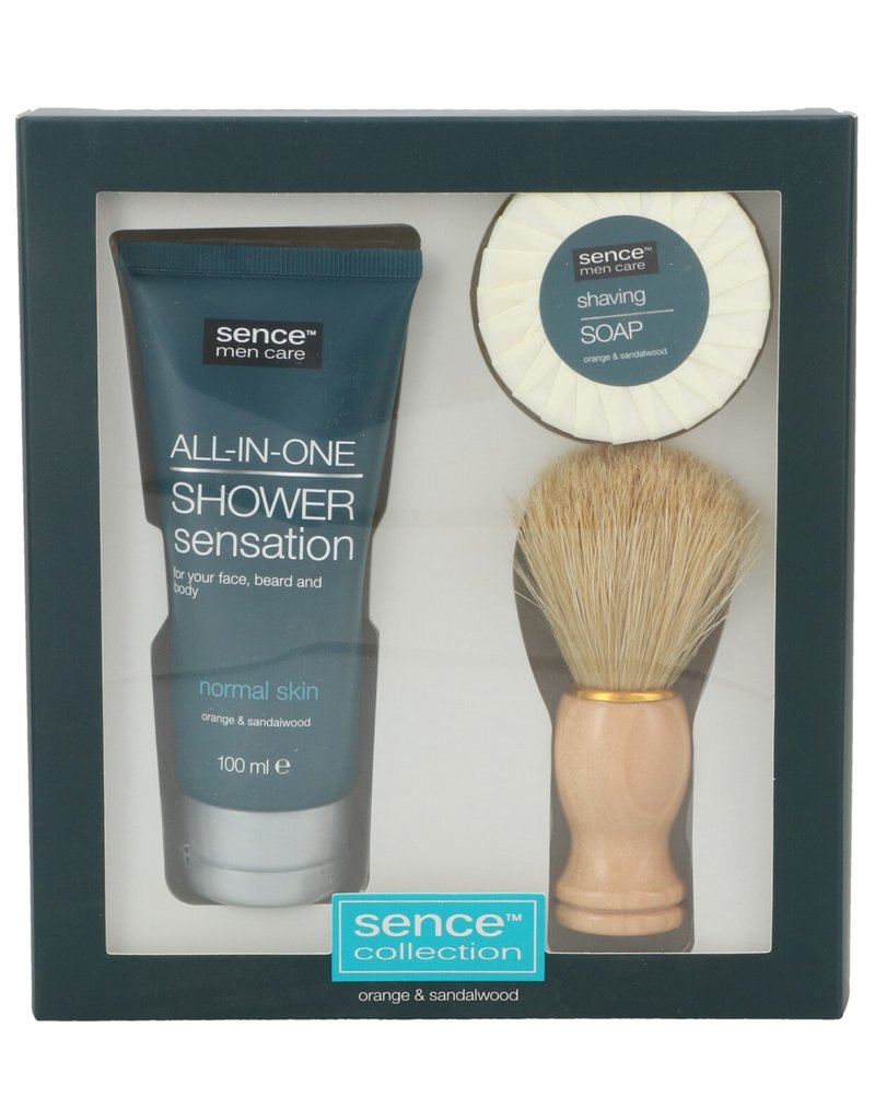 Sence Men Care Giftset; Shaving Soap 50gr+ Brush + FW 100ml