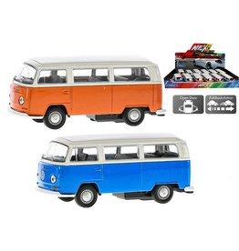 Diecast VW T2 Bus 12cm. 2 assorti kleur
