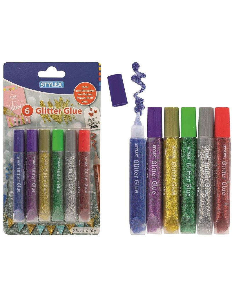 Glitter Lijm 10 gr. 6 assorti kleur