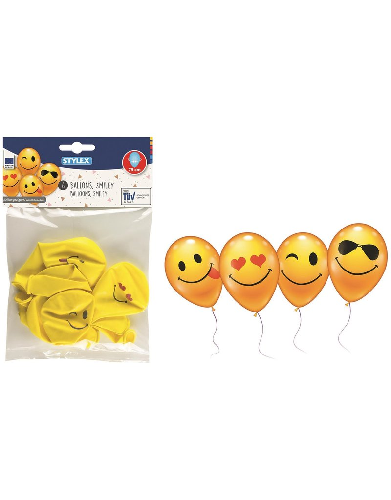Ballonnen Smiley 75cm. 6 stuks