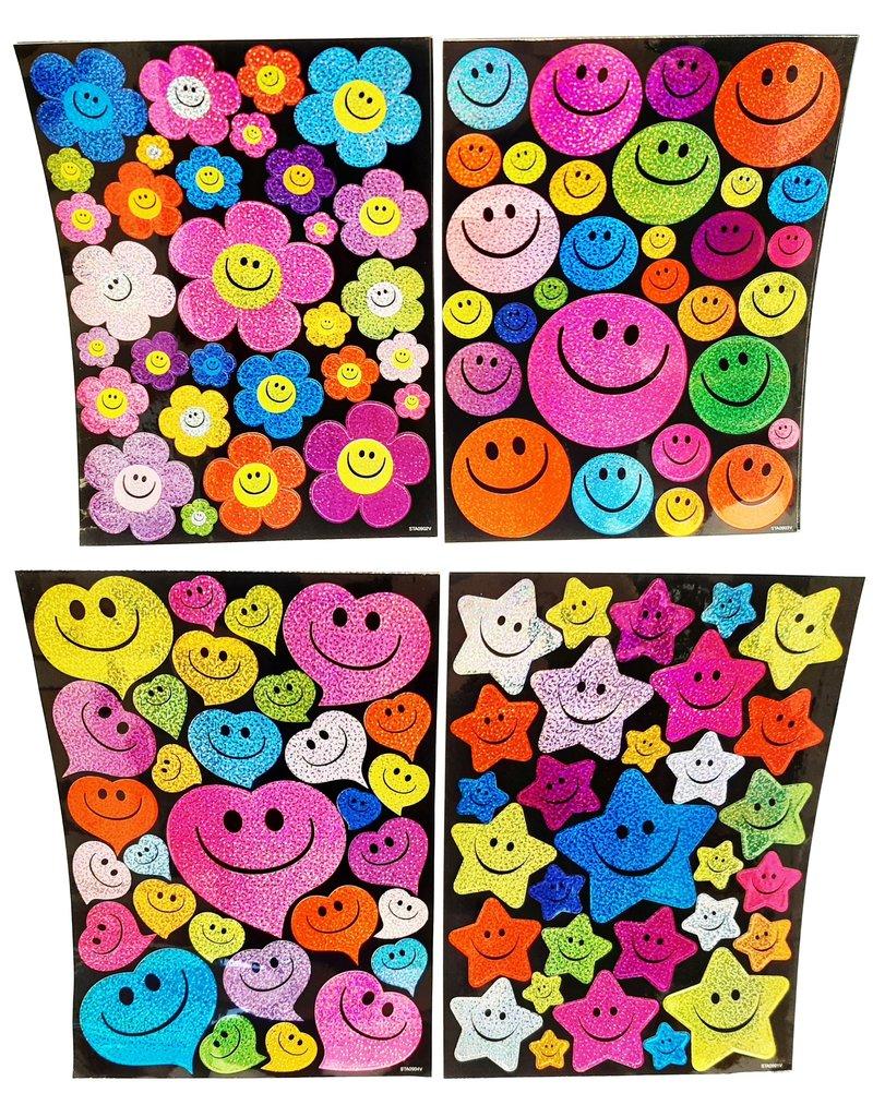 Laser Stickers Smiley 25x18,5cm. 4 assorti design