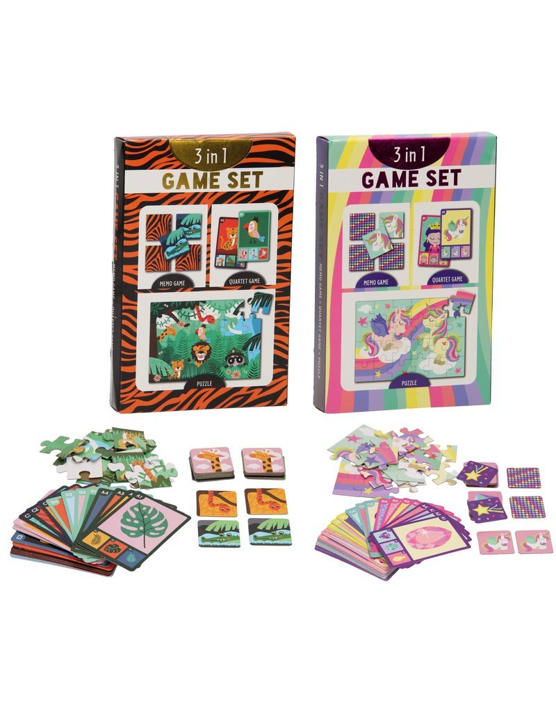 3-in-1 Spellenset met puzzel, memo- en kwartetspel 2 ass.