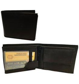 Portemonnee Leer 10,5x8,5cm. zwart