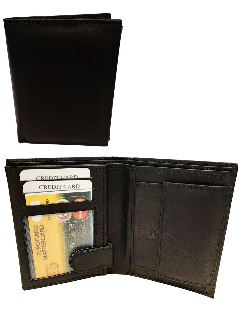 Portemonnee Leer 9x12cm. zwart