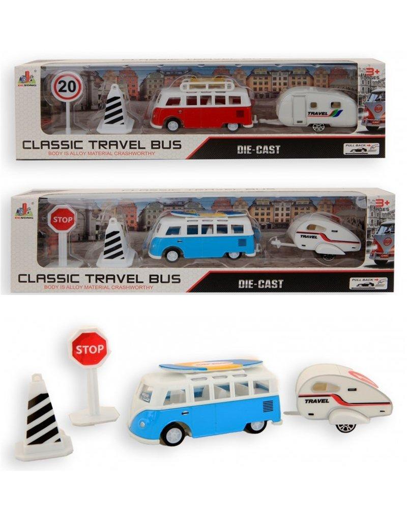 DieCast Classic Travel Camper Bus 8,5cm + aanhanger en acc.