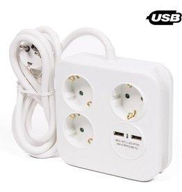 Stekkerdoos 3 voudig + ra + 2 USB aansluitingen+1,5mtr snoer