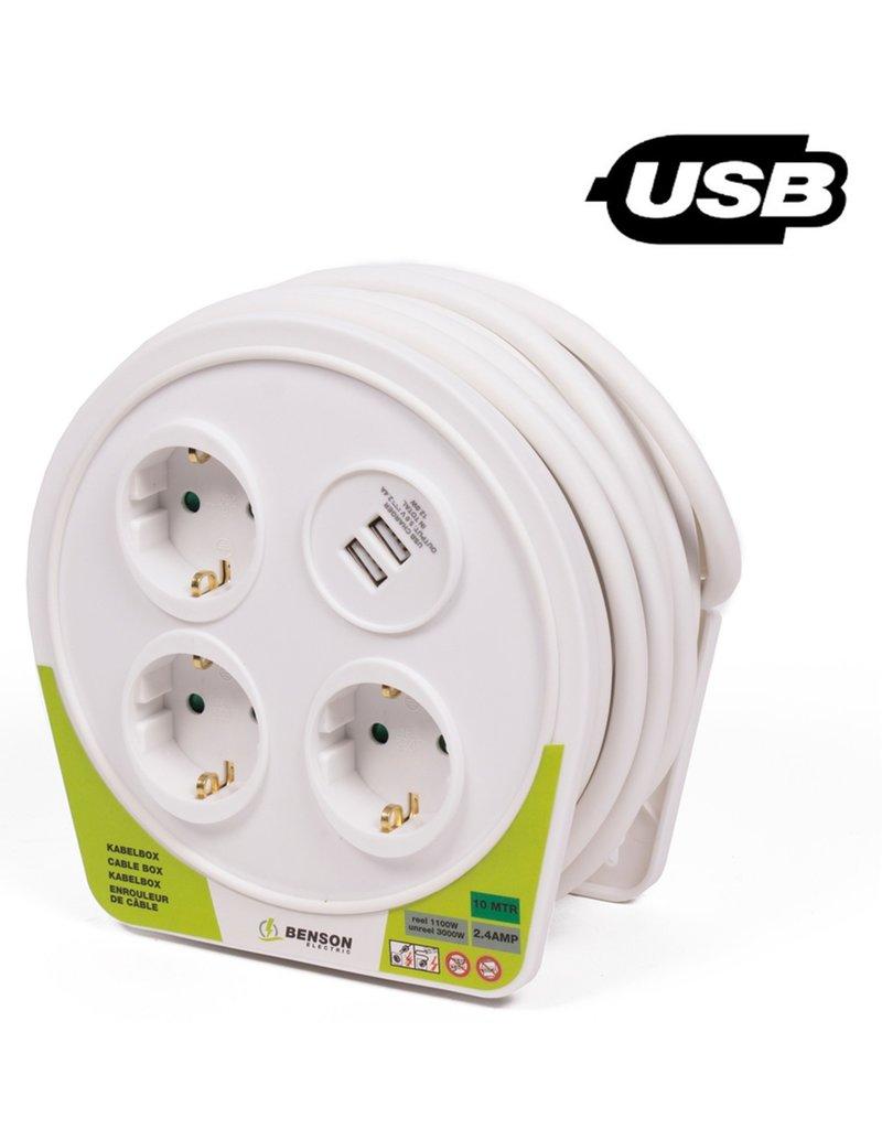 Kabelbox 3 voudig + 2 USB aansluitingen 10 meter