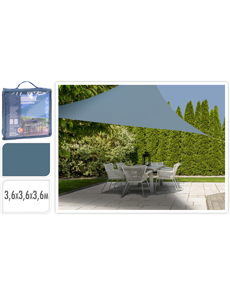 Schaduwdoek Driehoek 3,6x3,6x3,6meter blauw