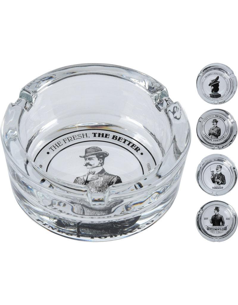 Asbak glas met print Ø8x3,5cm 4 assorti